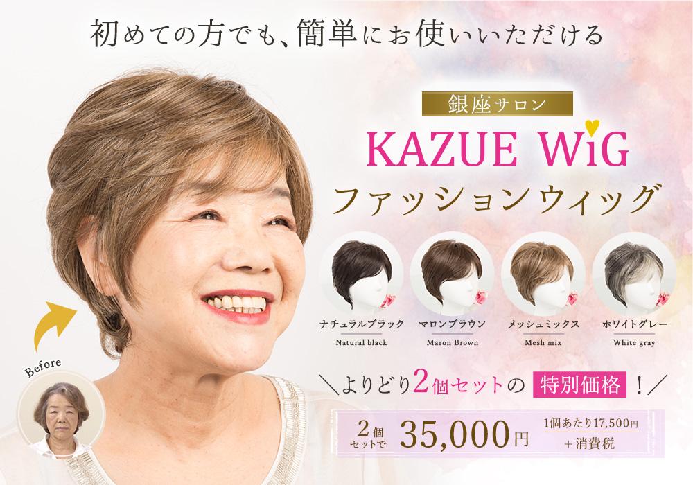 初めての方でも、簡単にお使いいただける 銀座サロン ファッションウィッグ KAZUE WIG 各色18,500円