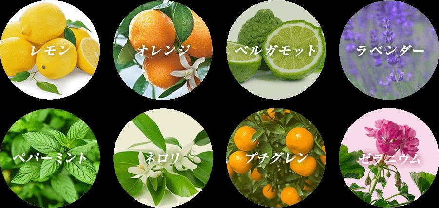 レモン オレンジ ベルガモット ラベンダー ペパーミント ネロリ プチグレン ゼラニウム