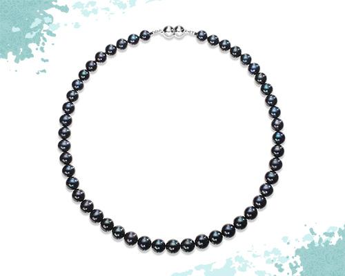 池蝶黒真珠「彩虹珠」 グラデーションネックレス